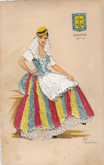 Canarias Beautiful Lady With Embroidered Multi Colored Dress