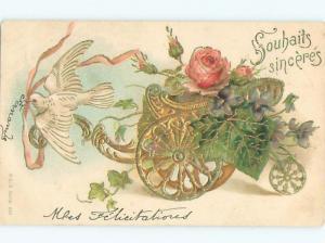 foreign Pre-1907 Postcard BIRD BESIDE FLOWERS IN THREE WHEELED CART AC3702