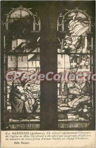 Postcard Old Bazeille (Ardennes) A ??stained glass window representing the bu...