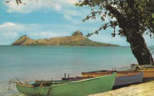 SAINT LUCIA , 50-60s ; Fishing boats opposite Pigeon Island