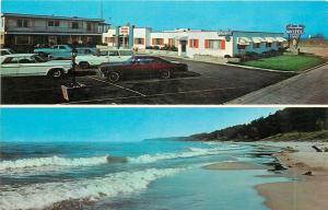 Ludington Michigan~Shoreline Motel~Empty Beach 1970s Cars Postcard