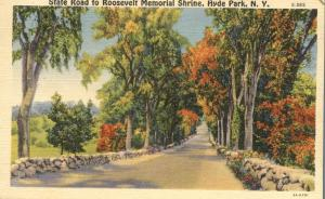 State Road to Roosevelt Memorial Shrine - Hyde Park NY, New York - Linen