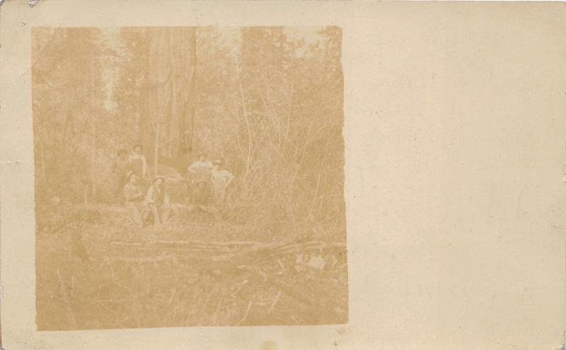 Logging Men Posing by Large Tree~See Note on Bk~RPPC pm 1909 @ Mill City Oregon