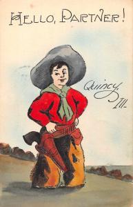 Quincy Illinois Greetings Cowboy with Gun Handmade Antique Postcard J76057