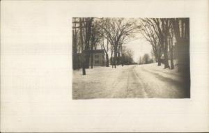 Winterport ME (Written on Back) Road in Winter c1910 Real Photo Postcard