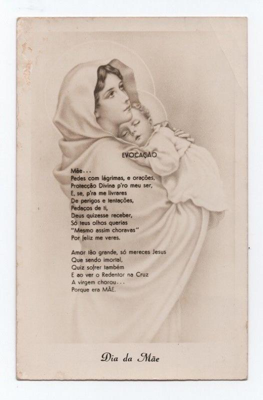 ART POSTCARD 1950s MOTHER DAY - OUR LADY MARY & JESUS CHRIST PORTUGAL POEM