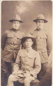 RP; 1900-1910's; Three Young Soldiers In Uniform