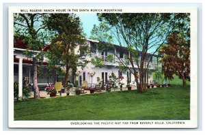 Postcard Will Rogers' Ranch House in the Santa Monica Mountains CA 1935 G18