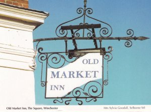 Old Market Inn The Square Winchester Hanging Sign Postcard