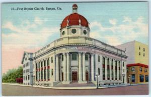 TAMPA, Florida  FL    FIRST BAPTIST CHURCH  ca 1940s Linen  Postcard