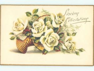 Very Old Foreign Postcard BEAUTIFUL FLOWERS SCENE AA4308