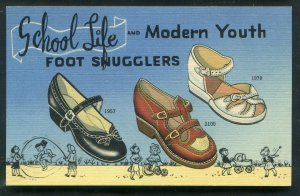 C W marks Shoe Co Chicago IL School Life Foot Snugglers Advertising postcard