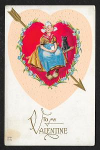 To My Valentine Dutch Girl & Black Cat in Heart Used c1914