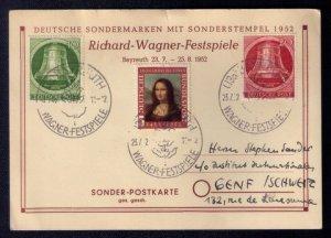 1952 Germany GDR Richard-Wagner Festspiele 3 Stamps With Mona Lisa Litho..