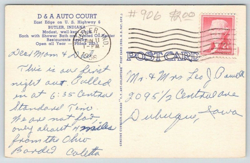 Butler Indiana~D&A Auto Court~Cottage Cabins~Roadside Motel Route 6~1956 Linen