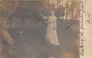 Ohio~Lady in Vintage Dress 'Picking Forbidden Fruit'~1908 RPPC PM Montpelier