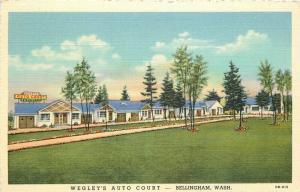 Bellingham Washington Wegleys Auto Court  1940s Postcard Teich linen 4687