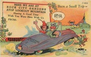 Couple Auto 1940s Rock City Gardens Lookout Mountain Teich Linen Postcard 6460
