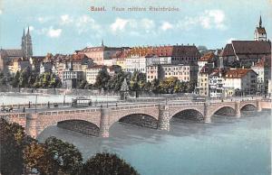 Switzerland Old Vintage Antique Post Card Basel eue mittlere Rheinbrucke Unused