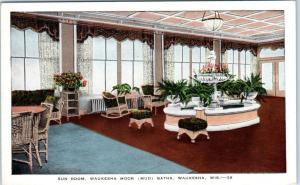 WAUKESHA, Wisconsin  WI    WAUKESHA MOOR BATHS Sun Room Interior c1920s Postcard