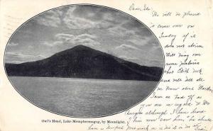 Owls Head Maine Lake Memphremagog Moonlight Antique Postcard K83520