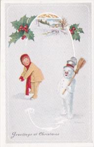 Merry Christmas With Snowman and Children