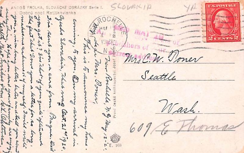 Slovakia Old Vintage Antique Post Card Antos Frolka 1921