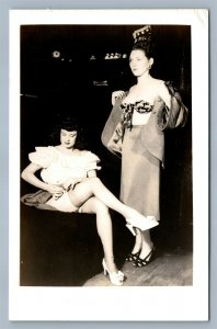 PAIR of MODEL GIRLS RISQUE VINTAGE REAL PHOTO POSTCARD RPPC GAY INTEREST