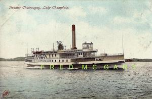 1908 Lake Champlain Vermont / New York PC: Steamer Chateuagay Underway