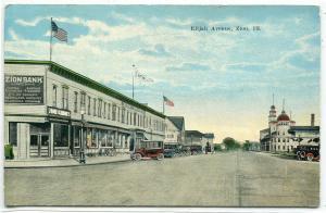 Elijah Avenue Street Scene Bank Zion Illinois 1910c postcard