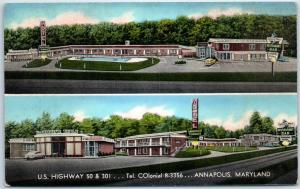 Annapolis, Maryland Postcard ANNAPOLIS TERRACE MOTEL Route 301 Roadside c1950s