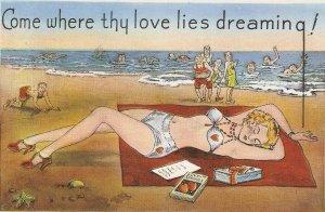 Lady lies dreaming in Laguna Beach, Florida Vingtage American Greetings PC