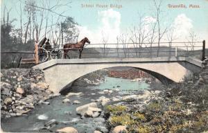 Granville Massachusetts School House Bridge Antique Postcard J55007