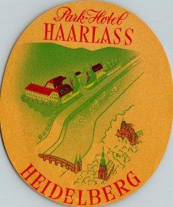 Germany Heidelberg Park Hotel Haarlass Vintage Luggage Label sk4812