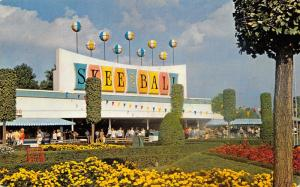 Cincinnati OH Coney Island Amusement Park~Skee Ball~Flower Beds~Shaped Trees 60s