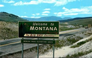 Montana Welcome Sign To Big Sky Country On Highway 15 and 91