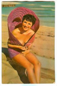 Squeeky,  PIN-UP, Brunette wearing only a purple straw hat, Exposed shoulders...