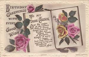 Birthday Greetings with every Good Wish, roses, dear Cousin