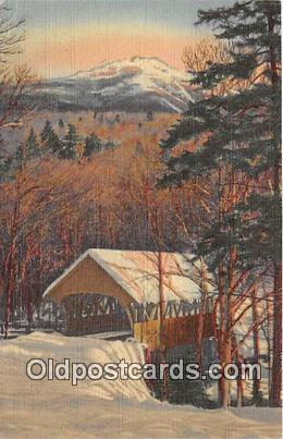 Covered Bridge Vintage Postcard White Mountains, NH, USA Vintage Postcard Mt ...