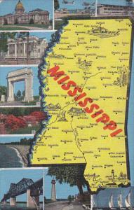 Map Of Mississippi 1949