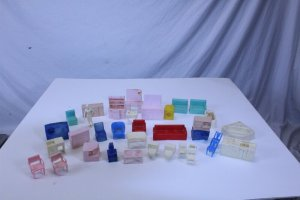 Lot of 35 Vintage Collectible Plastic Mini Doll House Furniture PCS by Superior