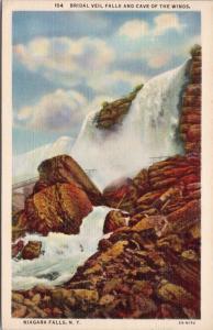 Bridal Veil Falls & Cave Of The Winds Niagara Falls NY c1937 Linen Postcard D65