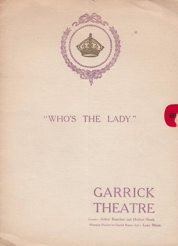 Who's The Lady Garrick Theatre Louis Meyer Farren Soutar Old Programme