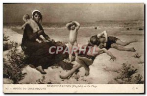 Old Postcard Musee Du Luxembourg Paris Demont Breton The Beach