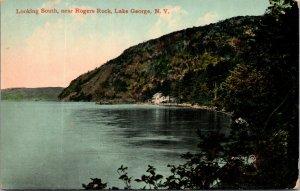 RARE - NEW YORK POSTCARD: ROGER'S ROCK - LAKE GEORGE, NY