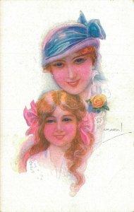 Art Deco Artist Signed Luis Usabal Mother Daughter Vintage Postcard 06.58