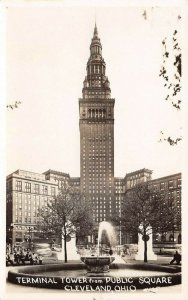 LP59 Cleveland Ohio Vintage Postcard RPPC Terminal Tower from Public Square