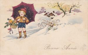 Bonne Annee, Happy child with umbrella nad basket of gifts, horseshoe, Snowfa...