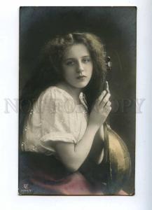 187045 Woman LONG HAIR w/ MANDOLIN Vintage PHOTO PC