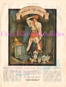 Vtg 1927 Rogers Bros Silverplate Ad, Johanna Silver Pirate, Pieces of 8 Chest